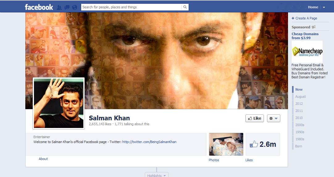 Official Salman khan facebook page