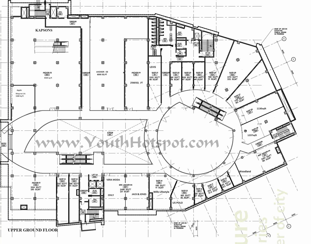 Sketch of Upper Ground Floor - Wave Mall